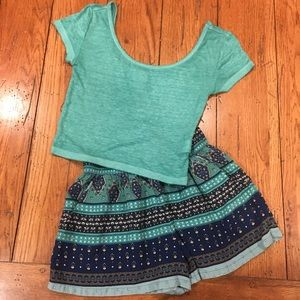 Mossimo Two Piece Short Top Set Green Blue XS